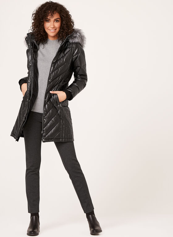 Quilted Faux Fur Trim Coat , Black, hi-res