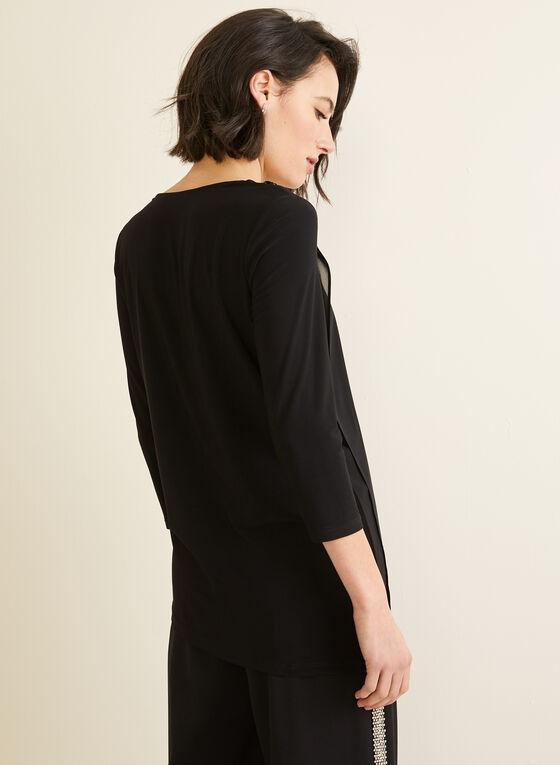 3/4 Sleeve Asymmetrical Top, Black