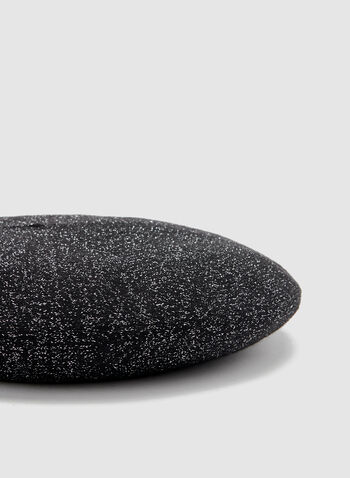 Metallic Knit Wool Beret, Black, hi-res