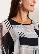 Graphic Print ¾ Sleeve Poncho Blouse, Black, hi-res