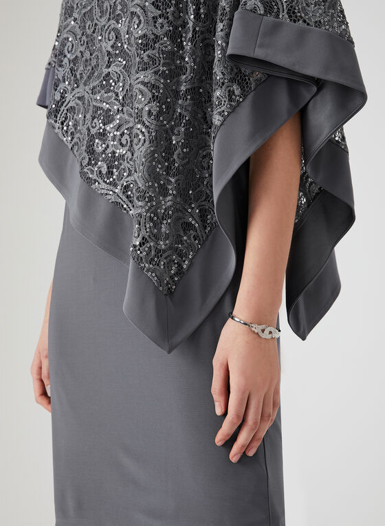 Sequin Lace Poncho Dress, Grey, hi-res