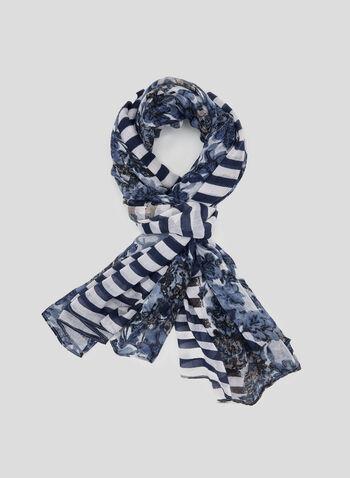 Foulard léger rayé et fleuri à pompons, Bleu, hi-res