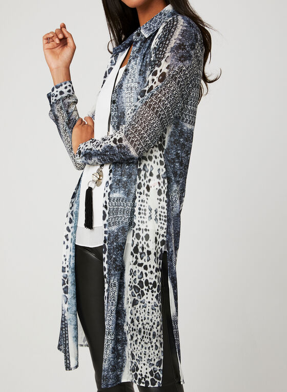 Animal Print Tunic Blouse, Grey, hi-res