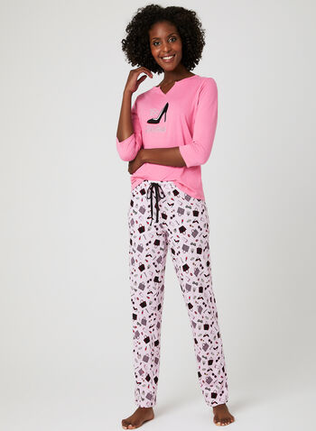 René Rofé – Novelty Appliqué Pyjama Set, Pink, hi-res