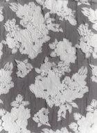 Foulard en organza à motif floral, Noir, hi-res