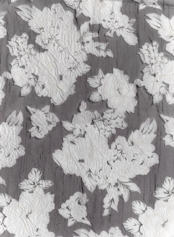 Floral Organza Scarf, Black, hi-res