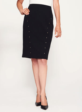 Studded Pencil Skirt, Black, hi-res
