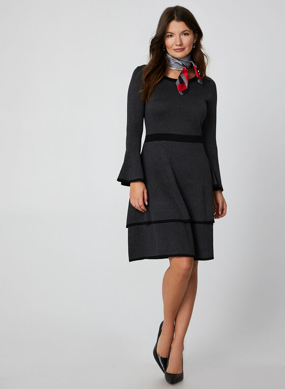 Bell Sleeve Sweater Dress, Grey