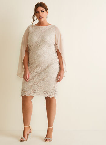 Floral Lace & Chiffon Dress, Off White,  dress, cocktail, sheath, lace, floral, glitter, chiffon, tulip sleeves, scalloped, spring summer 2020