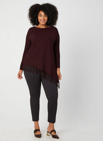 Asymmetric Fringe Sweater, Purple, hi-res,  fringe, sweater, boat neck, ¾ sleeves, Fall 2019, Winter 2019