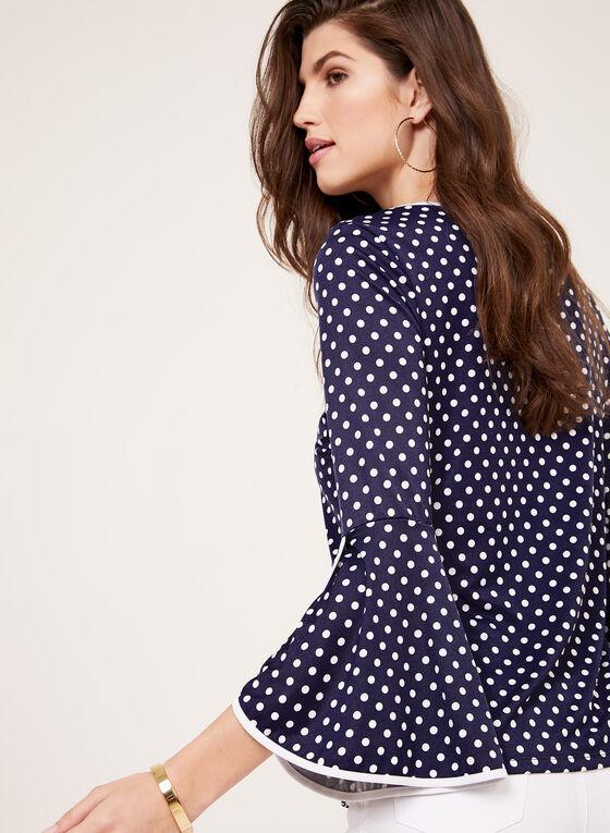 Dot Print Bell Sleeve Top, Blue, hi-res