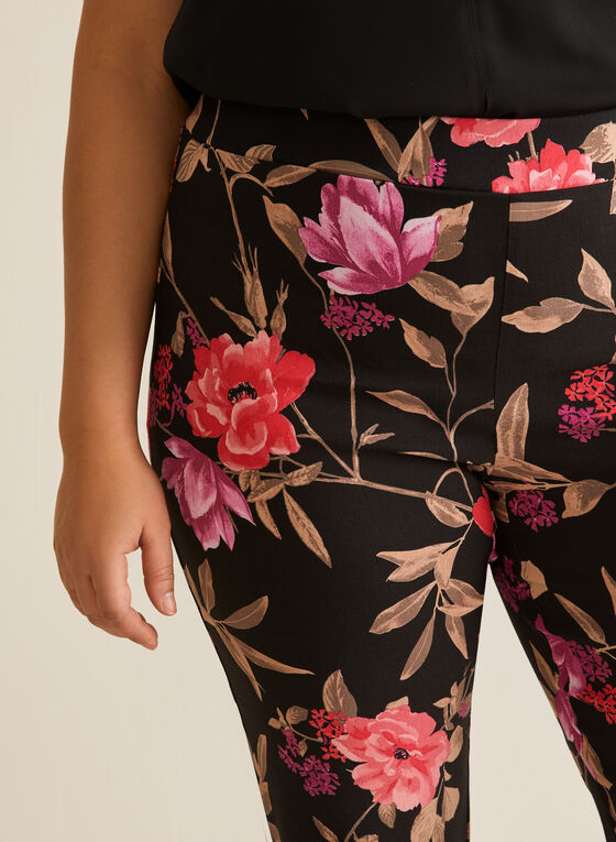 Pantalon fleuri étroit coupe cité, Noir