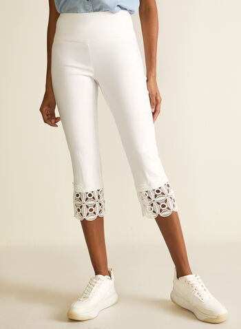 Crochet Detail Capri Pants, Off White,  pants, capri, pull-on, slim leg, crochet, stretchy, bengaline, spring summer 2020