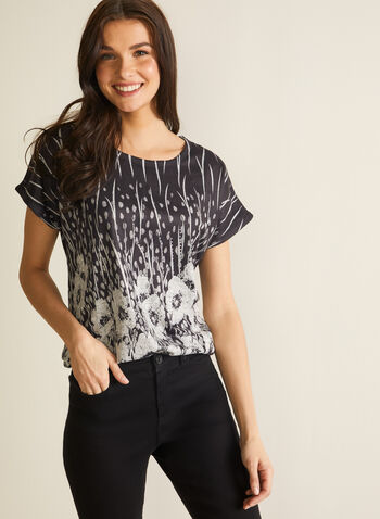 Vex - Soft Knit Top, Black,  spring summer 2020, soft knit fabric, floral print, cap sleeves