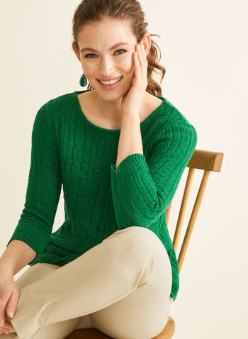 Scalloped Hem Sweater, Green,  sweater, knit, ribbed, boat neck, 3/4 sleeves, scalloped, stretchy, spring summer 2020