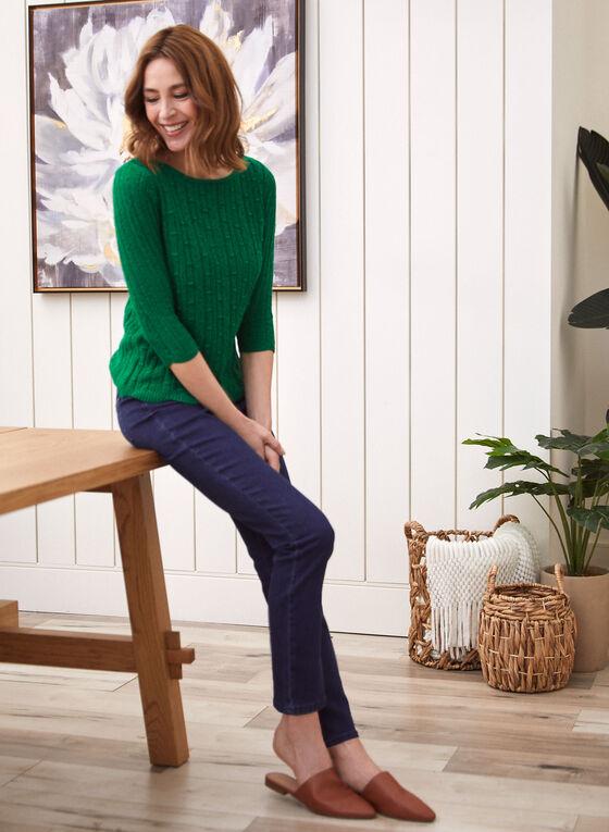 Pull en tricot à ourlet festonné, Vert