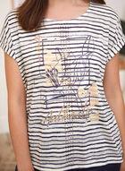 Striped Floral Print T-Shirt, Black