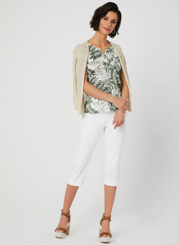 Palm Print T-Shirt, Green, hi-res,  henley, short sleeves, leaf print, linen, summer 2019