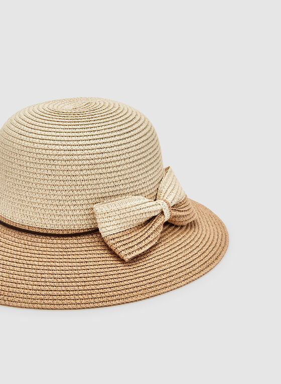 Bow Detail Straw Hat, Brown