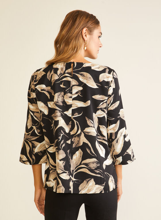 Floral Print Slit Sleeve Blouse, Black