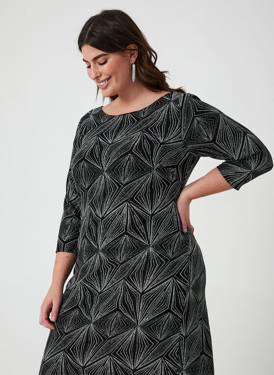 Geometric Print Sequin Dress, Black