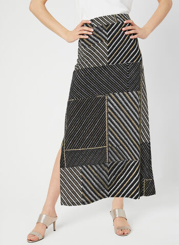 Patchwork Print Maxi Skirt, Black, hi-res,  pull-on, jersey, long skirt, summer 2019