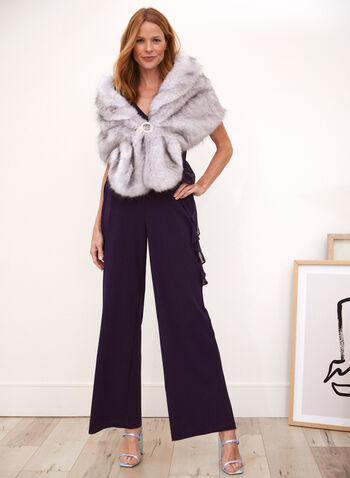 Faux Fur Stole With Buckle, Purple,  fall winter 2020, stole, faux fur, clip, crystals, rhinestones