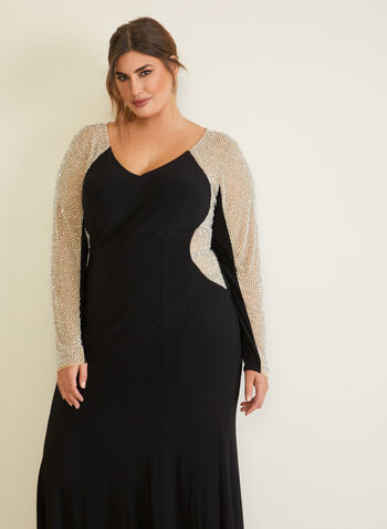 Embellished Long Sleeve Dress, Black,  evening dress, v-neck, long sleeve, mesh, jersey, beads, fall winter 2020