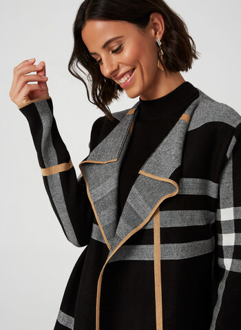 Open Front Plaid Cardigan, Black, hi-res,  cardigan, knit, plaid, open front, long sleeves, fall 2019, winter 2019