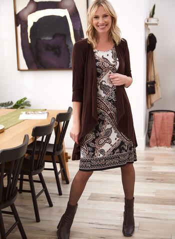 Paisley Print Dress & Cardigan Set, Brown,  fall 2021, dress, day dress, knee length, paisley print, dress set, cardigan set, duster, open front, 3/4 sleeves, cascade, comfy, stretchy, a line, necklace, integrated, sleeveless, round neckline