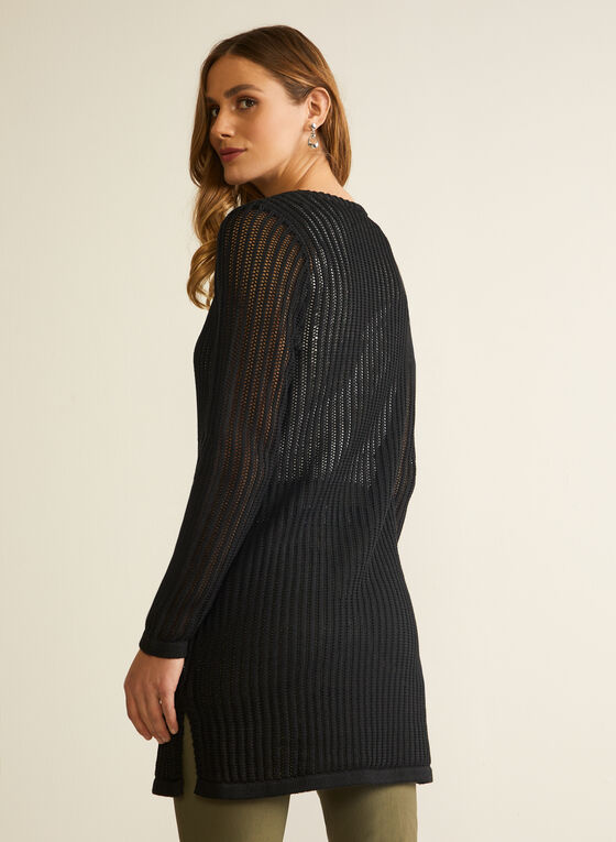 Cardigan ouvert en tricot crochet, Noir