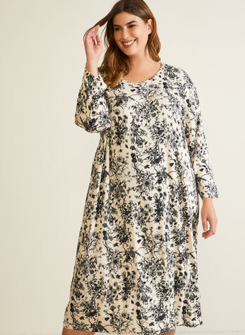 Robe de nuit longue à motif floral, Noir,  automne hiver 2020, robe de nuit, pyjama
