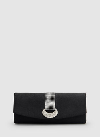 Crystal Embellished Satin Clutch, Black, hi-res