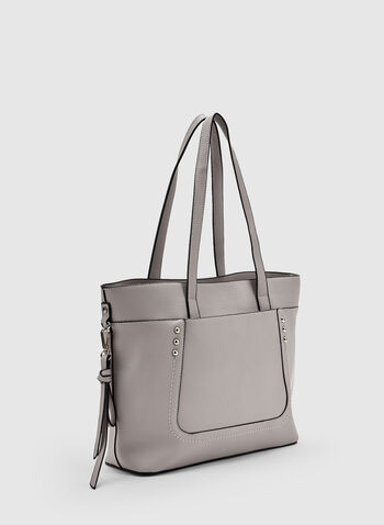 Studded Tote Bag, Grey, hi-res,  faux leather, spring 2019, zipper