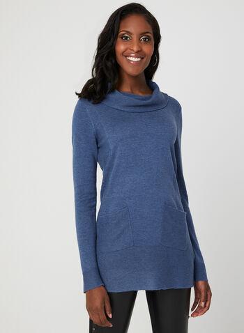 Cowl Neck Knit Tunic, Blue, hi-res