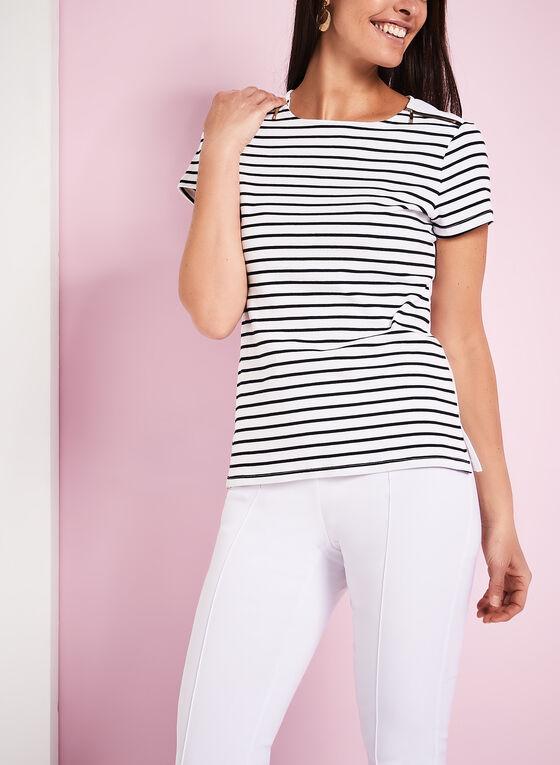 T-shirt coton à rayures et zips dorés, Blanc, hi-res