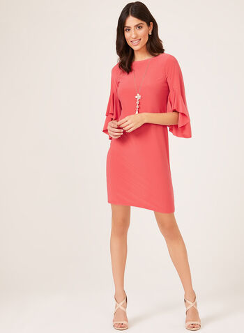 Angel Sleeve Jersey Dress, Red, hi-res