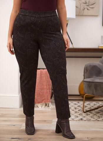 Pantalon motif cachemire à enfiler, Noir,  automne hiver 2020, pantalon, pull-on, taille élastique, à enfiler, motif, cachemire, fait au Canada, jambe étroite
