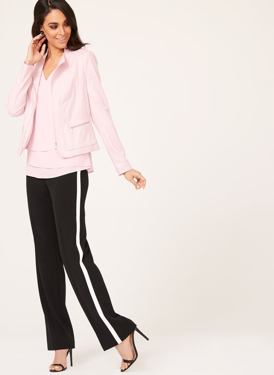 Faux Suede Zip Detail Jacket, Pink, hi-res