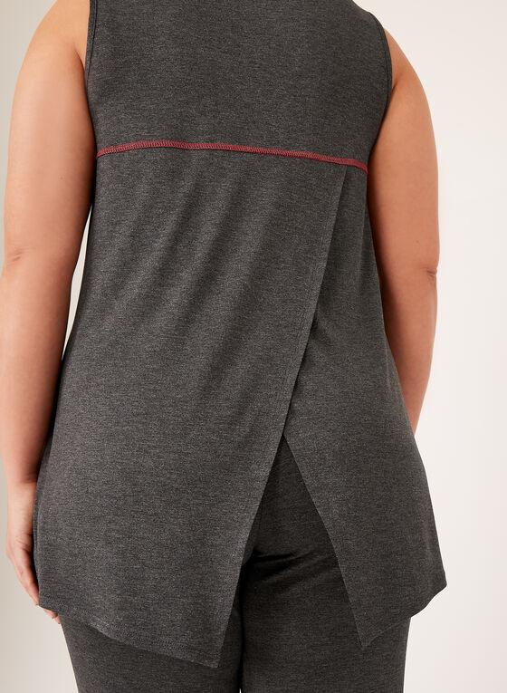 Haut sans manches à couture contrastante et fente au dos, Gris, hi-res