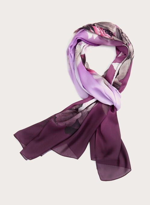 Floral Print Lightweight Scarf, Purple, hi-res