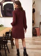 Cowl Neck Rib Knit Dress, Red