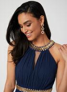 Crystal Cleo Neck Dress, Blue, hi-res