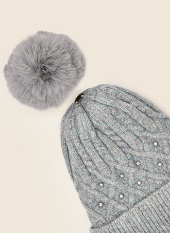 Removable Pom Pom Cable Knit Hat, Grey,  fall winter 2020, hat, knit hat, tuque, beanie, braided, diamond, stud detail, removable, pompom, pom pom, faux fur, cable knit