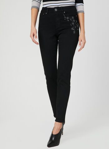 Embroidered Slim Leg Jeans, Black, hi-res,