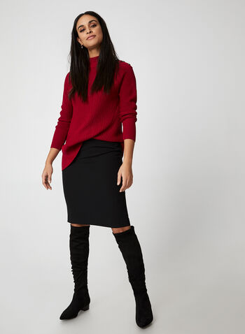 Rib-Knit Sweater, Red,  fall winter 2019, long sleeves, rib-knit, mock neck, button details