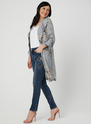 Floral Print Duster, Grey, hi-res