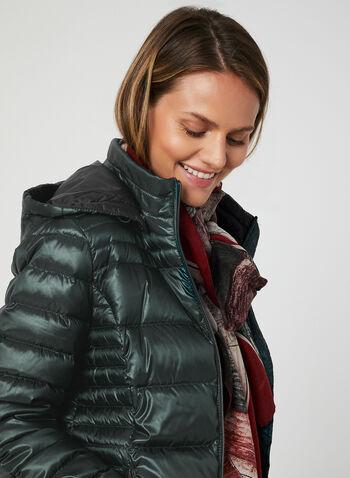Manteau en duvet compressible, Vert, hi-res,  automne hiver 2019, manteau, matelassé, compressible, capuchon, amovible, col montant , manches longues, poches, zip, duvet, plumes, cordons