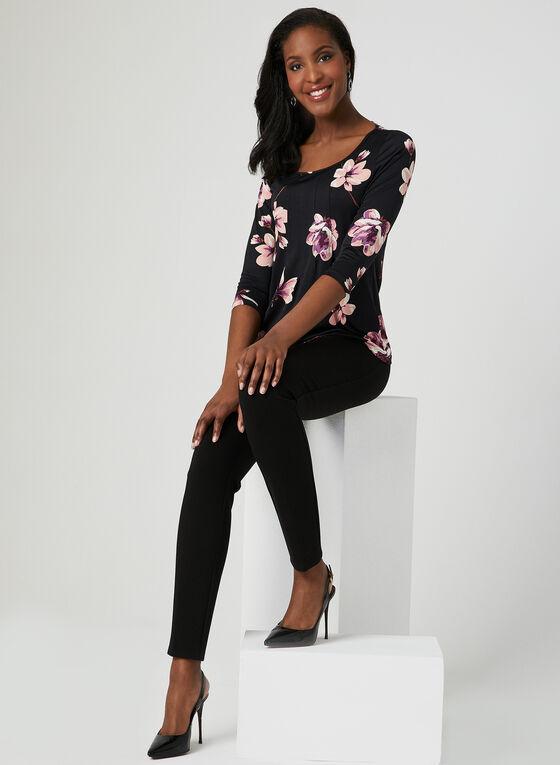 Floral Print  ¾ Sleeve Top, Multi, hi-res