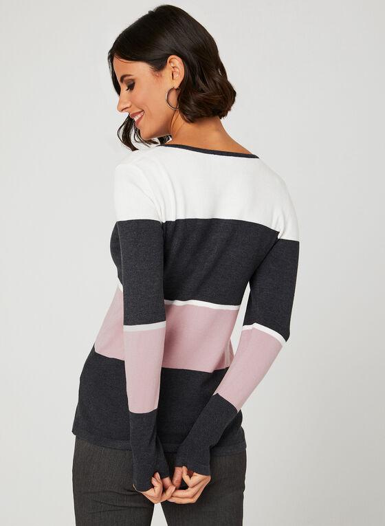 Colour Block Knit Top, Red, hi-res